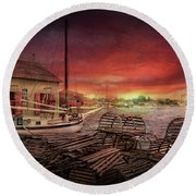 Boat - End Of The Season  Round Beach Towel