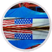 Boat For Freedom  Round Beach Towel