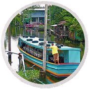 Boat For Transportation On Canals In Bangkok-thailand Round Beach Towel