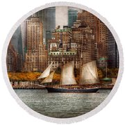 Boat - Governors Island Ny - Lower Manhattan Round Beach Towel by Mike Savad