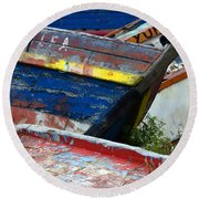 Boat Graveyard Peurto Natales Chile 7 Round Beach Towel