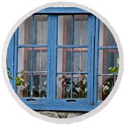 Boat House Windows Round Beach Towel