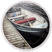 Boat In Fog Round Beach Towel
