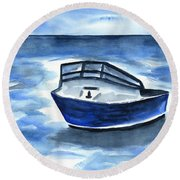 Boat In Grand Cayman Round Beach Towel
