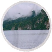 Boat In The Mist Round Beach Towel