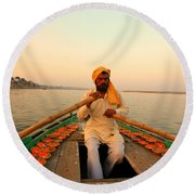 Boat Man On The Ganges River At Varanasi Round Beach Towel
