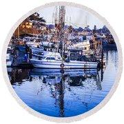 Boat Mast Reflection In Blue Ocean At Dock Morro Bay Marina Fine Art Photography Print Round Beach Towel