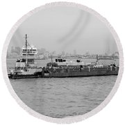 Boat Meet Barge In Black And White Round Beach Towel