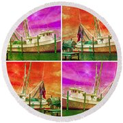 Boat Of A Different Color Round Beach Towel