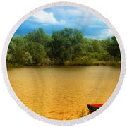 Boat On A Golden Pond Round Beach Towel