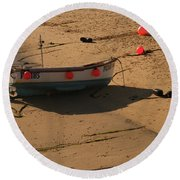 Boat On Beach 04 Round Beach Towel by Pixel Chimp