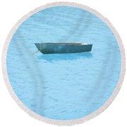 Boat On Blue Lake Round Beach Towel