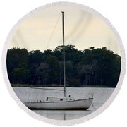 Boat On Calm Waters Round Beach Towel