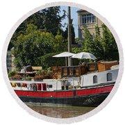 Boat On Canal Du Midi Homps France Dsc01717  Round Beach Towel