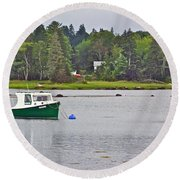 Boat On Cove In Glen Margaret-ns  Round Beach Towel