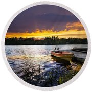 Boat On Lake At Sunset Round Beach Towel