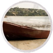 Boat On Shore 02 Round Beach Towel