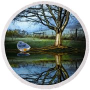 Boat On The Lake Round Beach Towel