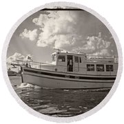Boat On The Water Round Beach Towel