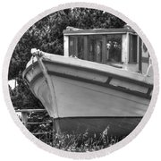 Boat Out Of The Water Round Beach Towel