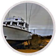 Boat Out Of Water Round Beach Towel