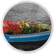 Boat Parade Round Beach Towel