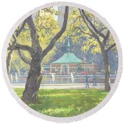 Boat Pond, Central Park Oil On Canvas Round Beach Towel