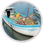 Boat Reflected In Sozopol Harbour Round Beach Towel