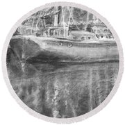 Boat Reflection Round Beach Towel