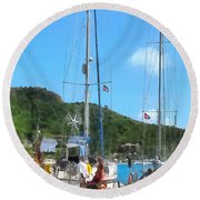 Boat - Relaxing At The Dock Round Beach Towel