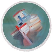 Boat Retired  Tavira Round Beach Towel