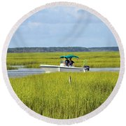 Boat Ride In The Marsh Round Beach Towel
