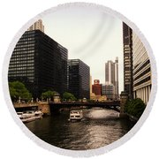 Boat Ride On The Chicago River Round Beach Towel