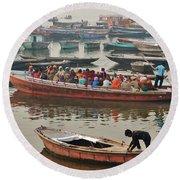 The Journey - Varanasi India Round Beach Towel