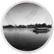Boat Ride World Showcase Lagoon In Black And White Walt Disney World Round Beach Towel