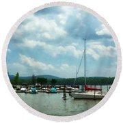 Boat - Sailboat At Dock Cold Springs Ny Round Beach Towel