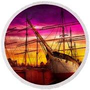 Boat - Sailing - Fleet Week Round Beach Towel by Mike Savad