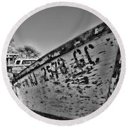 Boat - State Of Decay In Black And White Round Beach Towel