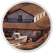 Boat - Tuckerton Seaport - Hotel Decrab  Round Beach Towel by Mike Savad