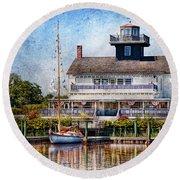 Boat - Tuckerton Seaport - Tuckerton Lighthouse Round Beach Towel