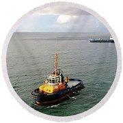 Boat - Tugboat Barbados II Round Beach Towel