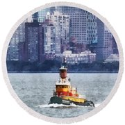 Boat - Tugboat By Manhattan Skyline Round Beach Towel