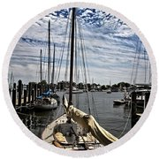 Boat Under The Clouds Round Beach Towel