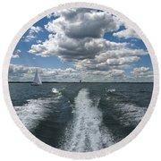 Boat Wake 01 Round Beach Towel