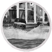 Boat Wake Black And White Round Beach Towel