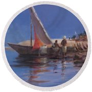 Boat Yard, Kilifi, 2012 Acrylic On Canvas Round Beach Towel