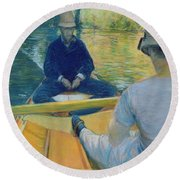 Boaters On The Yerres Round Beach Towel