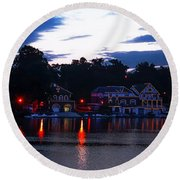 Boathouse Row Along The Schuylkill River At Dawn Round Beach Towel