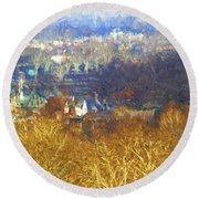 Boathouse Row Impasto Round Beach Towel