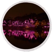 Boathouse Row In Pink Round Beach Towel